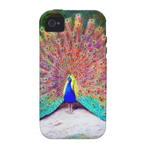 Pintura del pavo real del vintage Case-Mate iPhone 4 carcasas