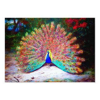 """Pintura del pavo real del vintage invitación 5"""" x 7"""""""