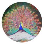 Pintura del pavo real del vintage plato para fiesta