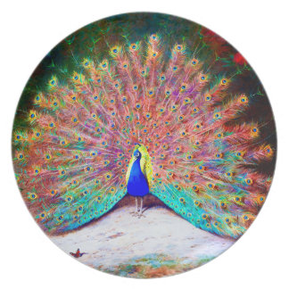 Pintura del pavo real del vintage plato