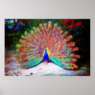 Pintura del pavo real del vintage póster