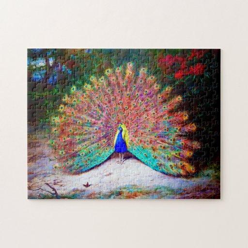 Pintura del pavo real del vintage puzzle con fotos