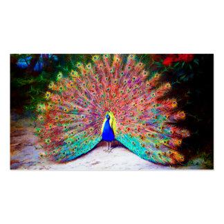 Pintura del pavo real del vintage tarjeta de negocio