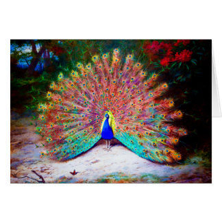 Pintura del pavo real del vintage tarjeta de felicitación