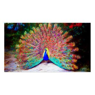 Pintura del pavo real del vintage tarjetas de visita