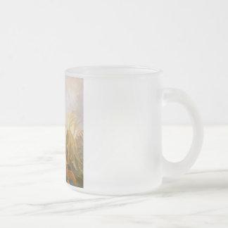 Pintura del pavo real del vintage taza cristal mate