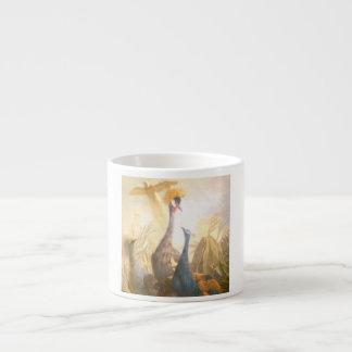 Pintura del pavo real del vintage taza espresso