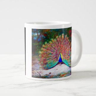 Pintura del pavo real del vintage taza grande
