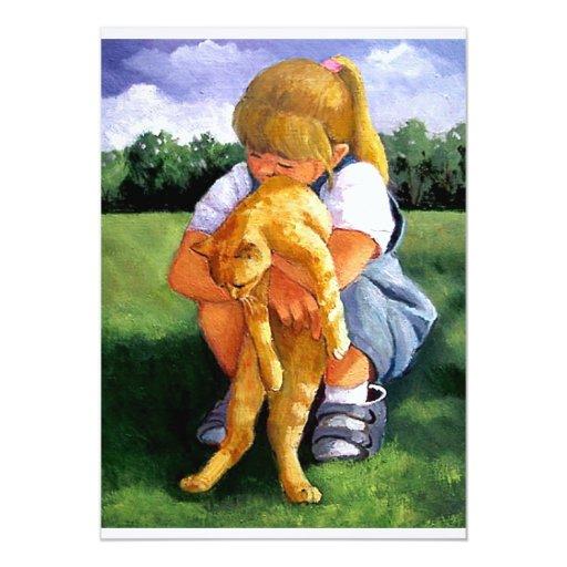 Pintura del pequeño chica que abraza el gato invitación 12,7 x 17,8 cm