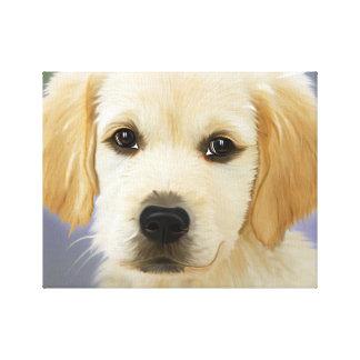 Pintura del perrito del golden retriever impresión en lienzo