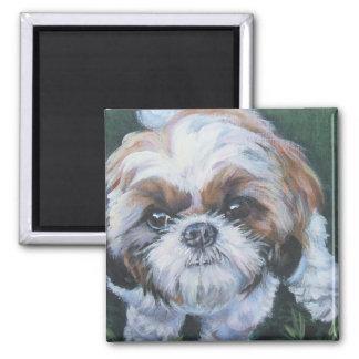 pintura del perro de la bella arte del tzu de shih imán cuadrado