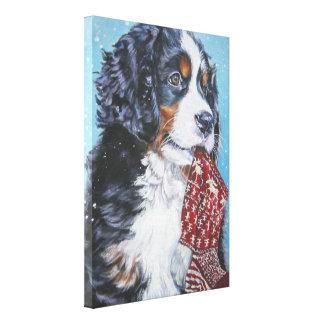 pintura del perro de montaña bernese en lona lienzo envuelto para galerias