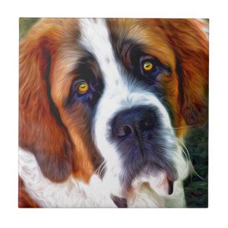 Pintura del perro de St Bernard Azulejo Cuadrado Pequeño