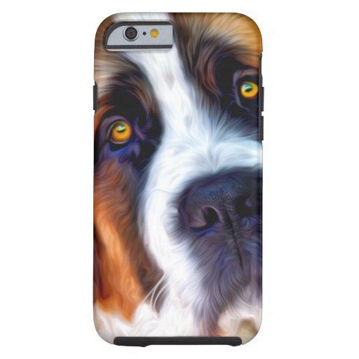 Pintura del perro de St Bernard Funda De iPhone 6 Tough