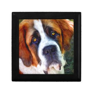 Pintura del perro de St Bernard Joyero Cuadrado Pequeño