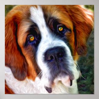 Pintura del perro de St Bernard Posters