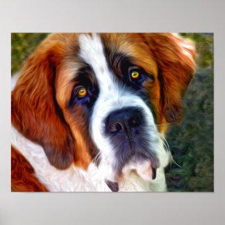 Pintura del perro de St Bernard Impresiones