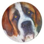 Pintura del perro de St Bernard Platos