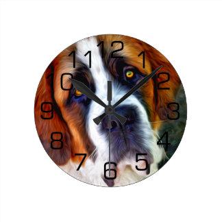 Pintura del perro de St Bernard Reloj Redondo Mediano