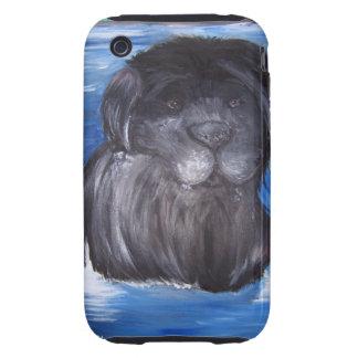 Pintura del perro de Terranova Tough iPhone 3 Funda