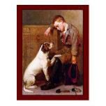 Pintura del perro: Mejores amigos de Juan Brown Tarjeta Postal
