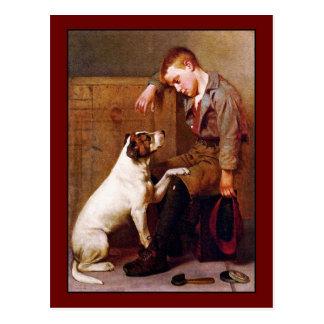 Pintura del perro Mejores amigos de Juan Brown Tarjeta Postal