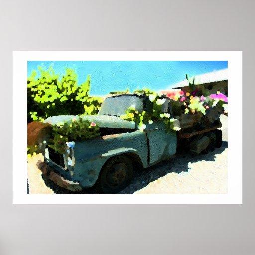 Pintura del plantador de antaño de la flor de la c poster