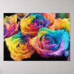 Pintura del poster de los rosas del arco iris