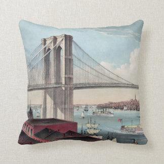 Pintura del puente de Brooklyn Cojín
