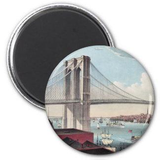 Pintura del puente de Brooklyn Imán Redondo 5 Cm