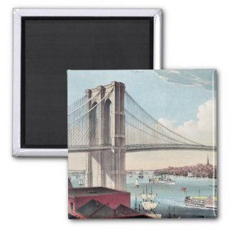 Pintura del puente de Brooklyn Imán Cuadrado