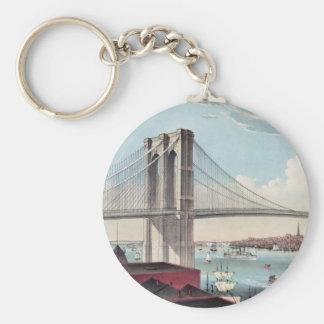 Pintura del puente de Brooklyn Llavero Redondo Tipo Pin