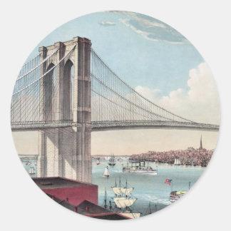 Pintura del puente de Brooklyn Pegatina Redonda