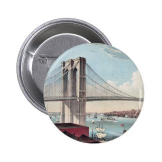 Pintura del puente de Brooklyn Pin Redondo De 2 Pulgadas