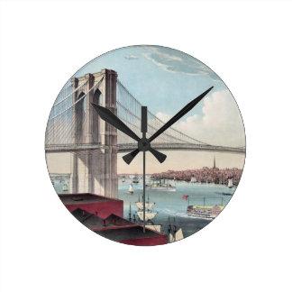 Pintura del puente de Brooklyn Reloj Redondo Mediano
