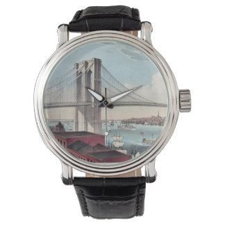 Pintura del puente de Brooklyn Relojes De Mano