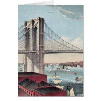 Pintura del puente de Brooklyn Tarjeta De Felicitación