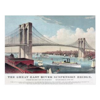 Pintura del puente de Brooklyn Tarjeta Postal