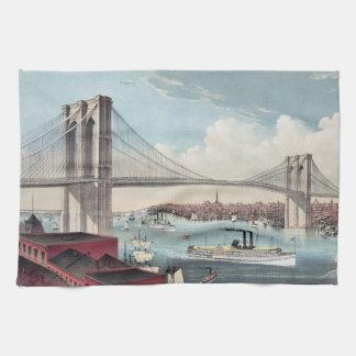 Pintura del puente de Brooklyn Toalla De Mano