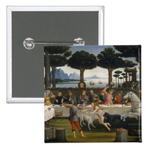Pintura del renacimiento de Botticelli Pin Cuadrado