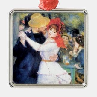 Pintura del renoir del baile de la mujer del adorno navideño cuadrado de metal