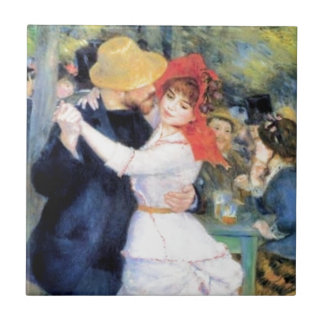 Pintura del renoir del baile de la mujer del hombr azulejo cuadrado pequeño