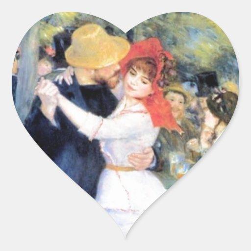 Pintura del renoir del baile de la mujer del colcomanias de corazon personalizadas