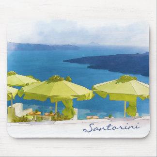 Pintura del restaurante de Santorini Grecia Alfombrilla De Ratón