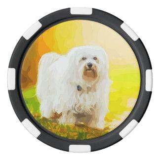 Pintura del retrato de Bichon del perro de Fichas De Póquer