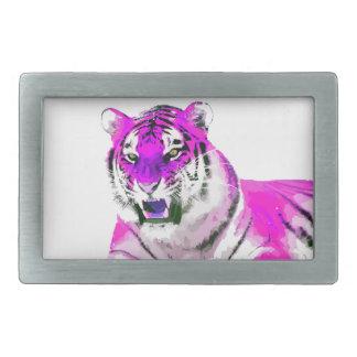 Pintura del retrato del tigre de las rosas fuertes hebilla cinturón rectangular