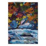 Pintura del río del otoño felicitacion