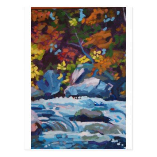 Pintura del río del otoño postales