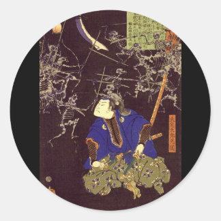 Pintura del samurai del fantasma, C. 1865 Pegatina Redonda