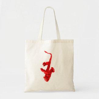 Pintura del saxofón, versión roja con las manos ro bolsa